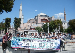 JIBBS students were photographed in front of the blue mosque